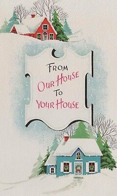 """VTG 1940'S """"FROM OUR HOUSE TO YOUR HOUSE"""" CHRISTMAS GREETING CARD"""