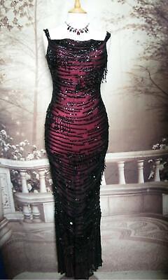 Prom Dress 10 Silk Black Red Beaded Sequin Fringe Jenny Packham Flapper Gatsby