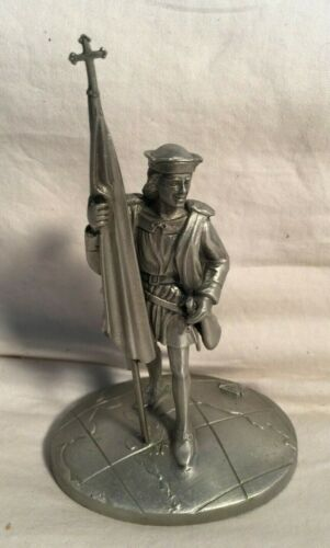 """K of C Pewter KNIGHTS of COLUMBUS Supreme Council 1525 Christopher statue 5.5"""""""