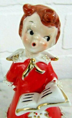 Vtg 1950s Spaghetti Trim BOY ANGEL Japan Christmas Bell Choir Carols Red  Gown