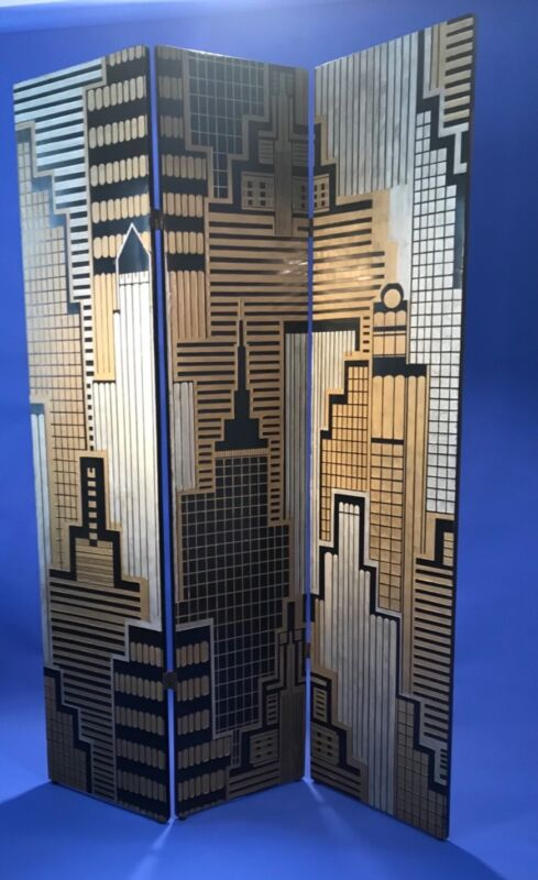 Art Deco Revival Cityscape Carved Wood Screen Room Divider, Laquer, Gold, Silver