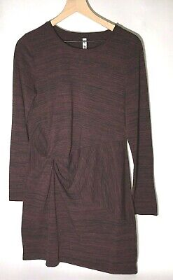 Fabletics size L Mini Brooke Dress Long Sleeve Maroon Pullover Stretch