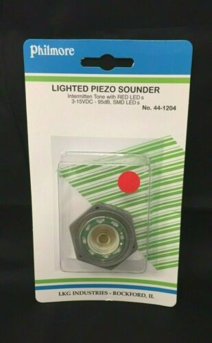 Philmore 44-1204 Lighted Piezo Sounder Red 12VDC Intermittent