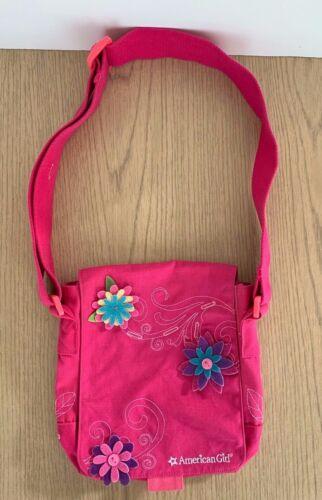 American Girl Floral Pink Crossbody Child Shoulder Bag Purse Embroidered Canvas