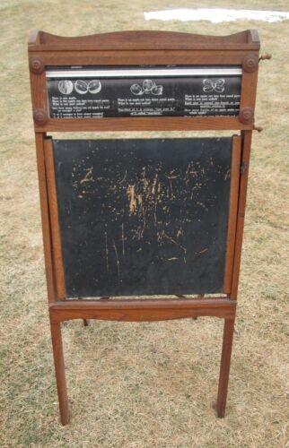 Antique Wood Freestanding Folding Chalkboard Chautauqua Style Desk Blackboard