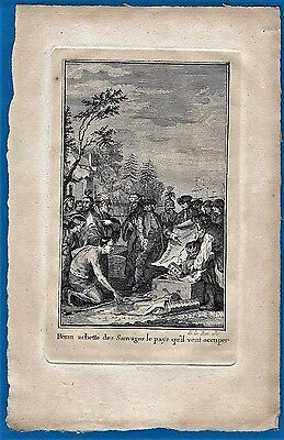 vintage original 1780 engraving Penn buying Indians Pennsylvania Kupferstich US