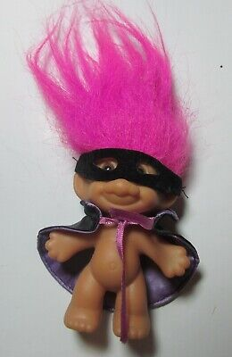 "VINTAGE TROLL DOLL 3"" PINK HAIR MASK & PURPLE LINED CAPE HALLOWEEN BANDIT ZORRO"