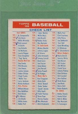 1956 Topps Checklist 2/4 MID GRADE Clean Back