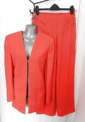 ❤ GIANNI VERSACE COUTURE Vintage 1980s Ladies Trouser Jacket Suit Orange 10 (44)