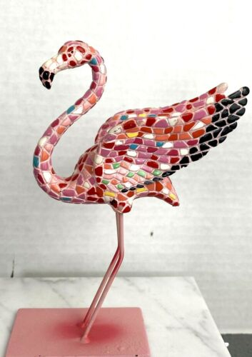 "Mosaic Pink Flamingo on Stand 6"" Tall K232"