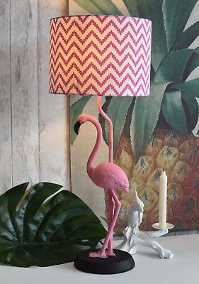 Grosse Lampe Flamingo Figur Rosa Schirm Tischlampe Tischleuchte Vogelfigur neu