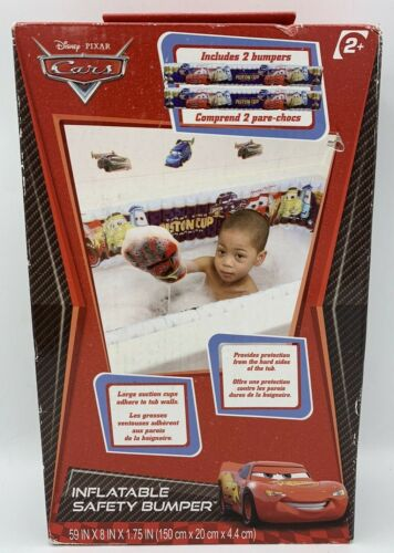"""NEW Disney Pixar Cars Inflatable Safety Bumpers(2) For Bathtub 59"""" X 8"""" X 1.75"""""""