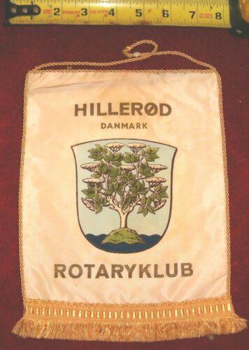 VINTAGE Rotary International Club wall banner flag     HILLEROD  DANMARK