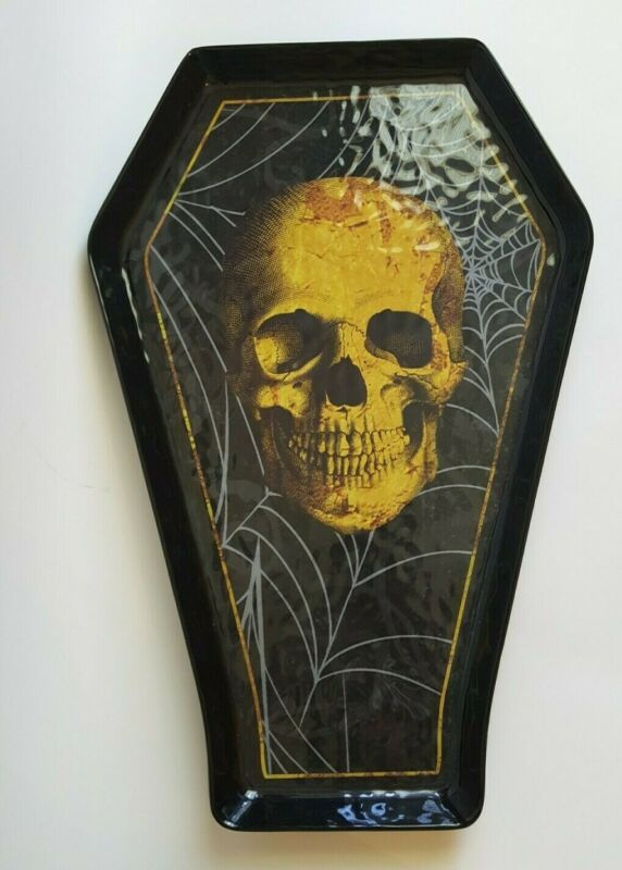 Black Melamine Coffin Shape Serving Tray Skull Spiderweb Halloween Decoration
