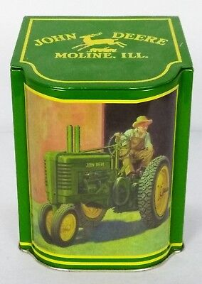 John Deere Moline ILL Tin/Metal Tractor Scene Container With Hinged Lid (John Deere Container)