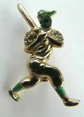 Vintage Baseball Player Costume (Vintage Baseball Player Batter Up Enamel and Rhinestone Pin Brooch Play)