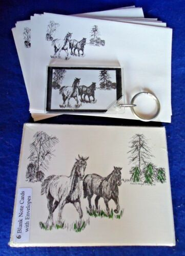 Running Horses 3 Piece Set-6 Notecards, 10 Printed Envelopes and Keychain