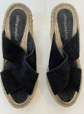 Jeffrey Campbell Black Suede Slip On Wedge Espadrilles Sandals Size 36 3
