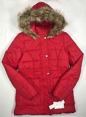 Fur Trimmed Hood (Krush Faux-Fur-Trim Hooded Puffer Coat Red XS-XL )