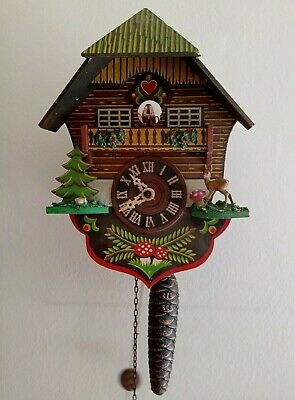 Genuine Vintage 1960's - Pendulum & Weight Clockwork Swiss Cuckoo Clock