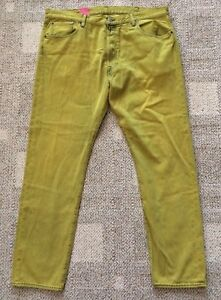 Levi's Mens Mustard Yellow 501 CT Jeans Size 40 X 32 Tapered Leg Button Fly