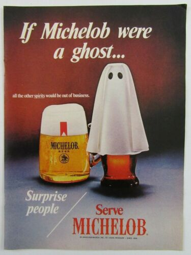 """1970 MICHELOB BEER """"If Michelob Were A Ghost.."""" Halloween Magazine Ad"""