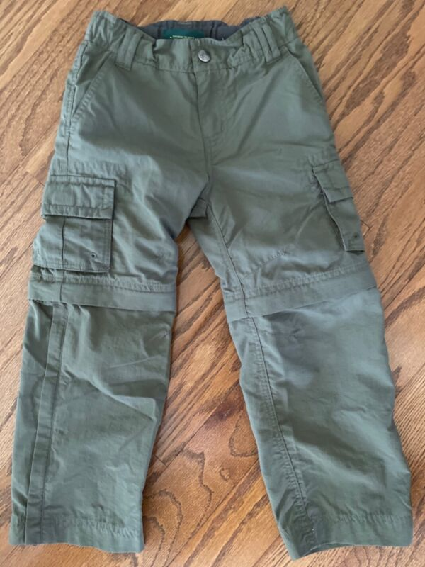 REI Boys Hiking Convertible Nylon Pants Olive Green Boys Size 4-5 Pre-Owned