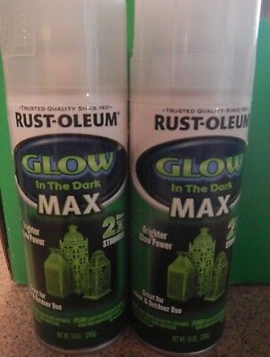 2 cans Rust-Oleum GLOW IN THE DARK MAX SPRAY Paint 2x Stronger Glows Green Color, used for sale  Shipping to Canada