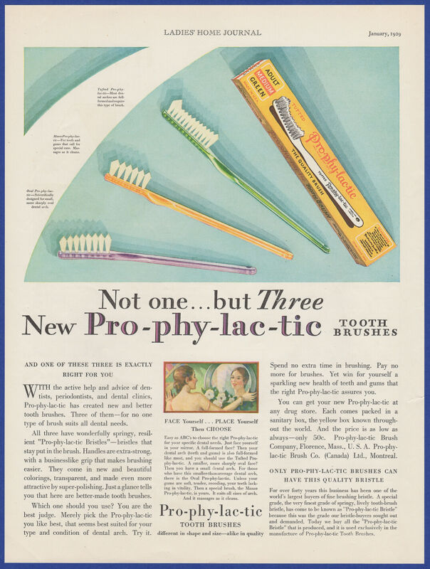 Vintage 1929 PRO-PHY-LAC-TIC Tooth Brushes Dental Hygiene Decor 20