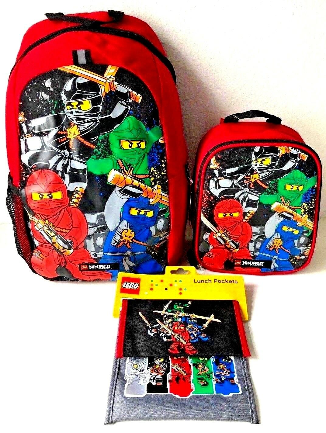 "Lego Ninjago 16"" Backpack Lunch Pockets Pouches & Box Bag Sc"