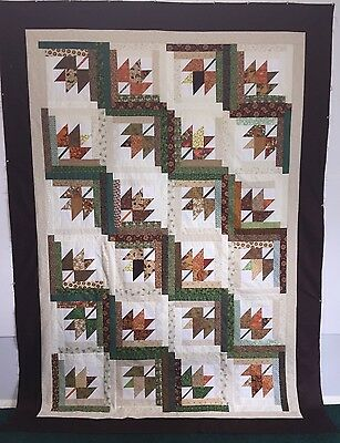 Autumn/Fall Maple Leaf Quilt Top - 69 x 87 Halloween Thanksgiving Football - Maple Leaf Halloween