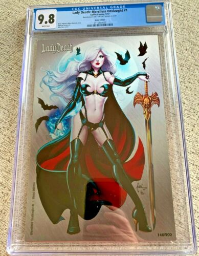Lady Death Merciless Onslaught #1 Metal Edition Billy Tucci cover CGC 9.8 NM