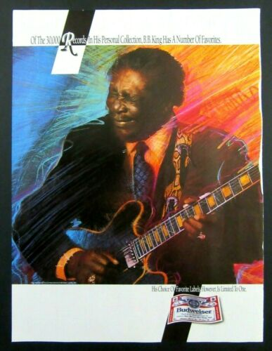 1992 BUDWEISER King of Beers Magazine Ad - Blues Guitarist BB KING