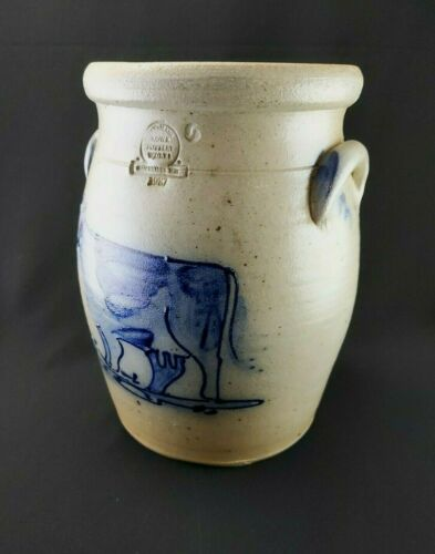 Vintage 1987 Rowe Pottery Works Cambridge Wisconsin Crock Blue Cow Salt-Glaze
