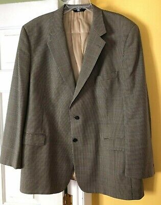BROOKS BROTHERS Black & Tan Small Plaid Lined Sports Suit Jacket  DRY CLEANED - Lined Plaid Suit