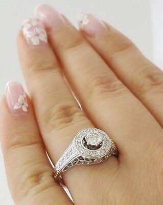 0.75 ct 18K White Gold Round Diamond Halo Engagement Ring GIA Rtl $2,700 5