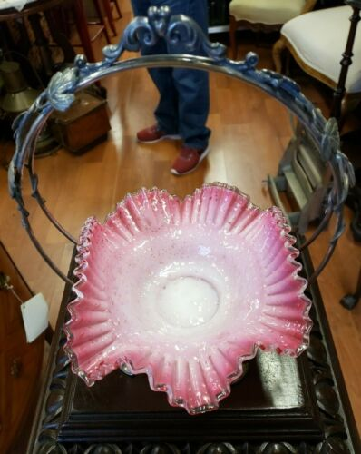 Antique Victorian ~Bridal Bowl w/ Silver plate Basket~ A Beauty~Free Ship! 1880s