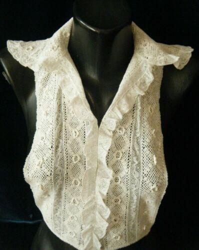 Antique Collar Plastron combo Irish hand crochet lace Flanders Val lace