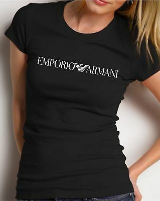 Slim fit EMPORIO ARMANI Women's black T-shirt - Size S, M / Small,Medium (Emporio Armani Women Shirts)