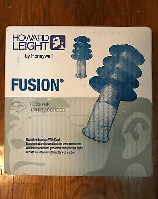 New Howard Leight Fusion Fus30-hp Reusable Earplugs With Cord - 100 Pairs