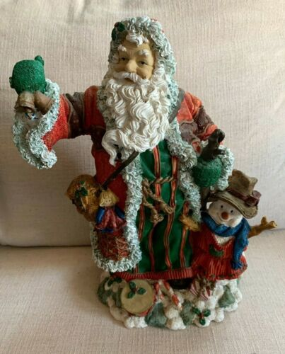 "SANTA  CERAMIC DECORATION RINGING BELLS WITH SNOWMAN AT SIDE  12.5"" X 9.5"""
