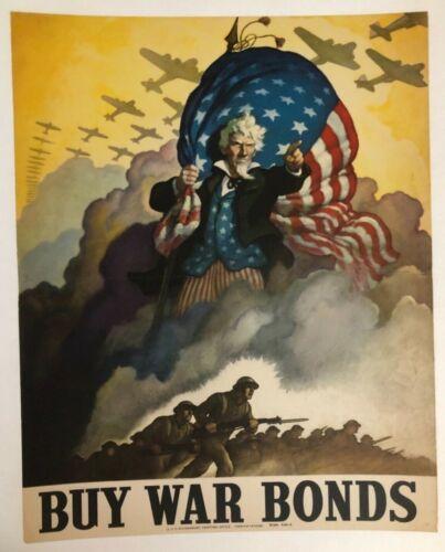 WWII WW2 Original War Poster Buy War Bonds Uncle Sam NC Wyeth US Army Military