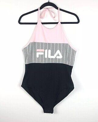 Fila Women's Fia Logo Stripe Bodysuit Size Large $60