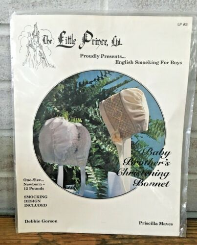 Little Prince English Smocking Baby Brothers Christening Bonnet Pattern UNCUT