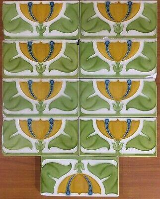 Antique rare art nouveau vintage border collectible tile majolica MAW & Co