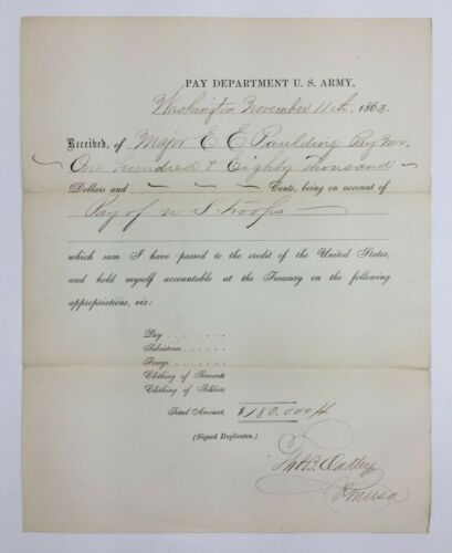 Civil War Document US Army Pay Department For Soldier Pay Washington DC 1863