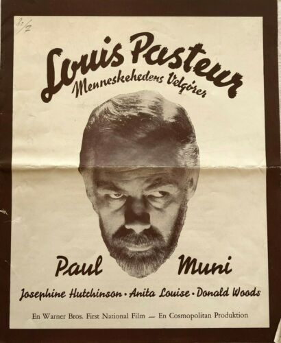 The Story Of Louis Pasteur Paul Muni 1936 Vtg Old Danish Movie Press Release