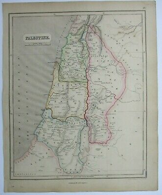 Antique Map of Palestine by William & Robert Chambers 1845