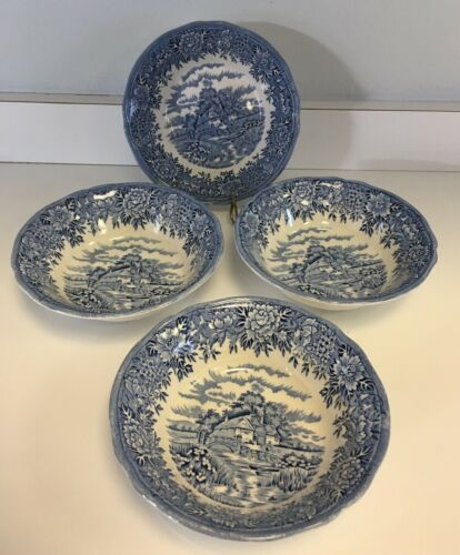 English Village, Salem China, OLDE STAFFORDSHIRE Coupe Cereal BOWLS - 4