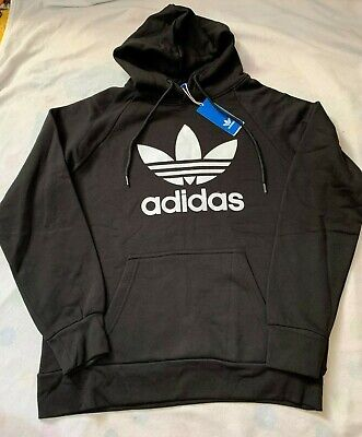 Adidas Mens Trefoil Hoodie Jumper Pullover Black Medium